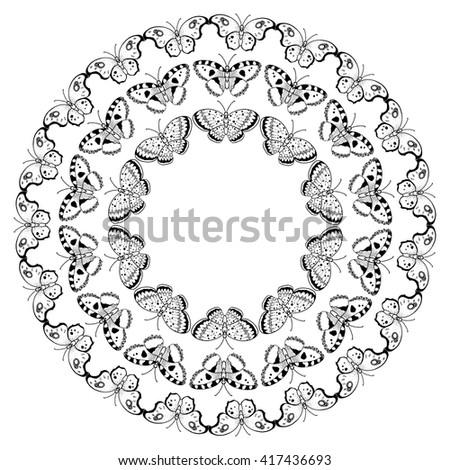 Minimalist butterflies wreath vector design element stock vector minimalist butterflies wreath vector design element for greeting card wedding invitation book cover stopboris Images