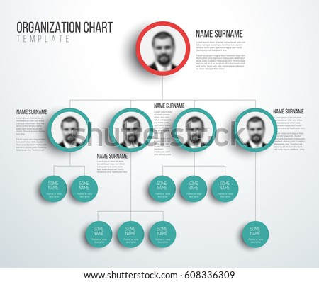 Minimalist company organization hierarchy chart template stock minimalist company organization hierarchy chart template light red and teal version with photos ccuart Image collections