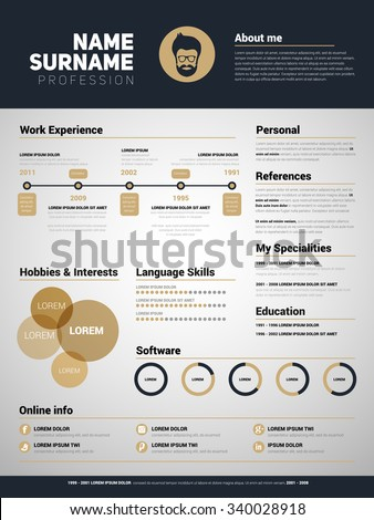 Minimalist CV, resume template with simple design, gold color vector - stock vector