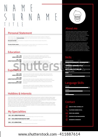 Minimalist CV, resume template with simple design, vector CV resume, business elegant CV, curriculum vitae, personal promo resume, skill profile