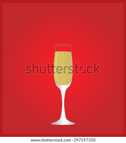 Minimalist Drinks List with Champagne Red Background EPS10 - stock vector