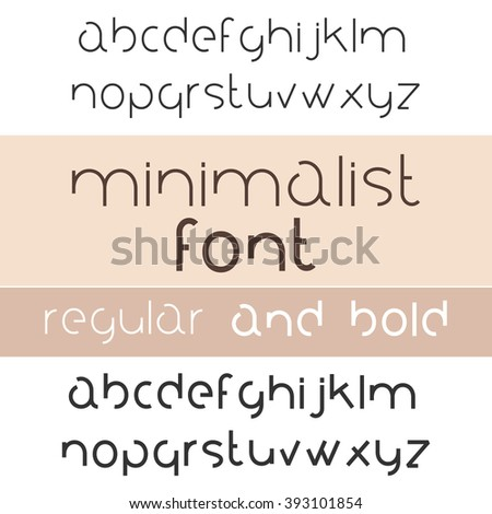 Minimalist Font Bold And Regular. Minimalism Style Sans Serif Typeface Set. Trendy Mono Line Latin Alphabet. Lowercase. Vector - stock vector
