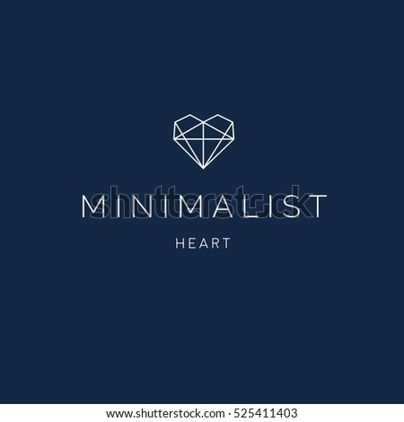 Minimalist Heart Logo Geometric Monogram Stock Vector 525411403