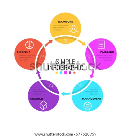 Minimalist infographic design layout circular chart stock for Programme conception cuisine