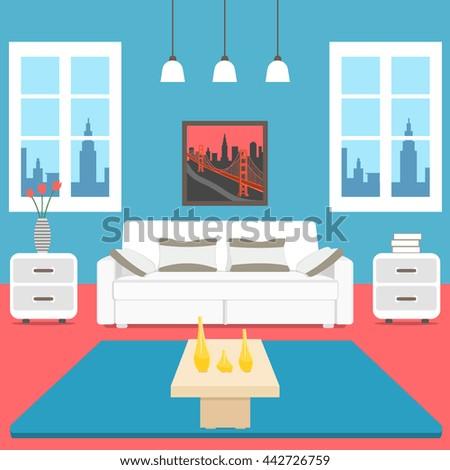 Minimalist Interior Design Of Colorful Living Room Background Vector Flat Style Illustration