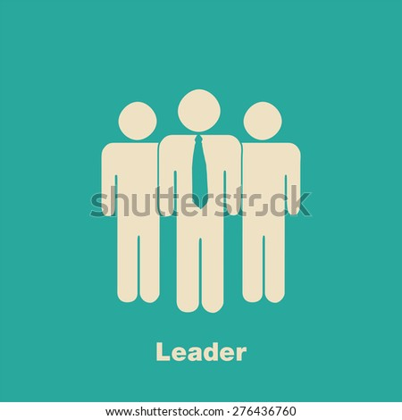 Minimalist Leader Concept Illustration with crowd on blue background (EPS10 Vector) - stock vector