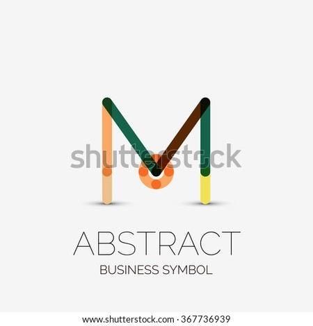 Minimalist Linear Business Icons Logos Made Stock Vector 2018