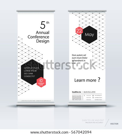 Minimalist multipurpose roll up banner design brochure flyer vertical template, vector x-banner and street business flag-banner, layout. Polygons on a white background