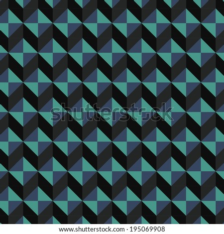 Minimalist retro tile with black and turquoise color composition. Scalable vector background element.  - stock vector
