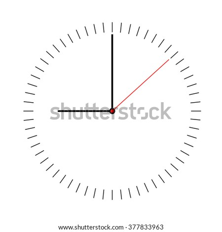 Minimalist simple clock. Clock face. Watch face. Simple watch on a white background