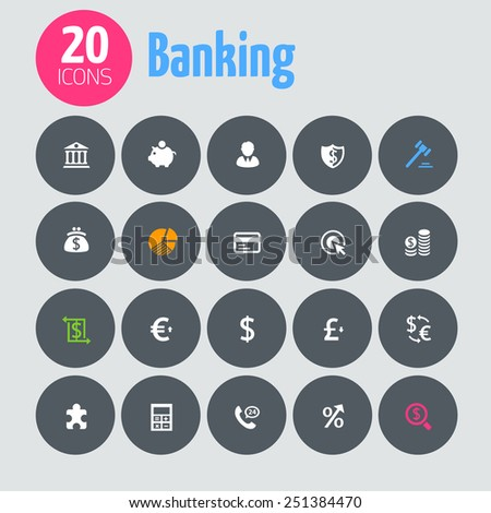 Minimalistic banking icons, on dark gray circles - stock vector