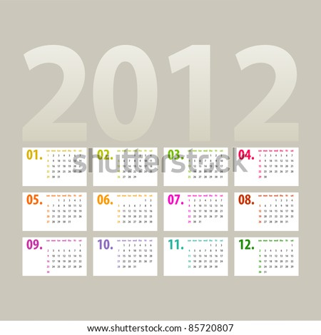 minimalistic 2012 calendar design - week starts with sunday