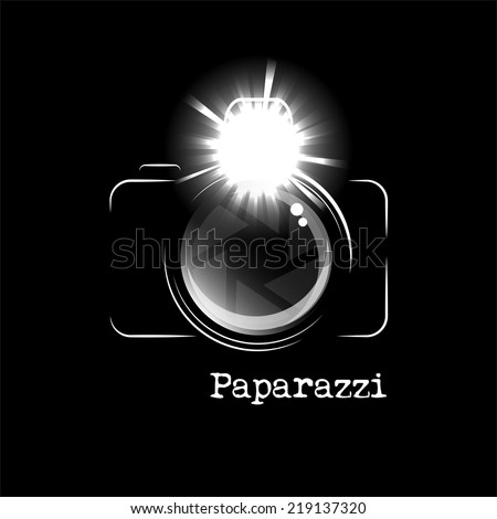 Minimalistic camera icon, with bright flash and the word Paparazzi, isolated over black background. EPS10 vector format - stock vector