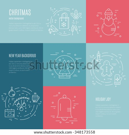 Minimalistic concept with christmas objects. New year celebration pictogramms.Clean and easy to edit. Modern design element for flyer template, advertisement or commercial add.   - stock vector