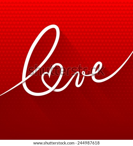 Minimalistic continuous line text lettering of word Love on red background with small hearts - stock vector