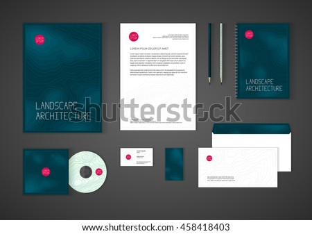 Minimalistic corporate identity template landscape design stock minimalistic corporate identity template for landscape design architecture company stationery template design for real reheart Images