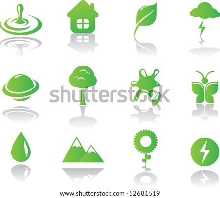 Minimalistic environmental green icons set - stock vector