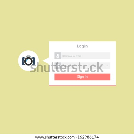 Minimalistic flat login form for web and mobile applications - stock vector