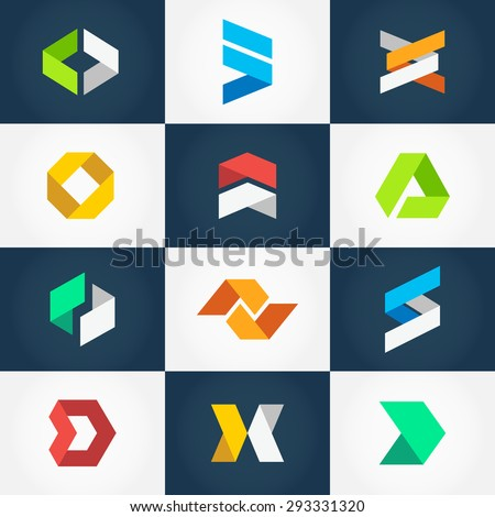 Minimalistic Geometric Origami Logo Collection. Vector graphic design elements for your company logo. Creative abstract geometric business icons set in modern flat style - stock vector