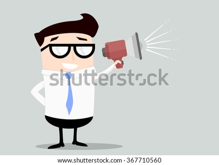 minimalistic illustration of a businessman holding a loudspeaker, eps10 vector - stock vector