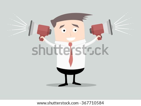 minimalistic illustration of a businessman holding loudspeakers in both arms, eps10 vector - stock vector