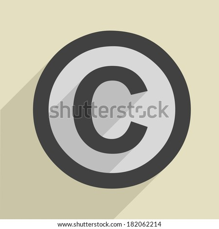 minimalistic illustration of a copyright icon, eps10 vector - stock vector