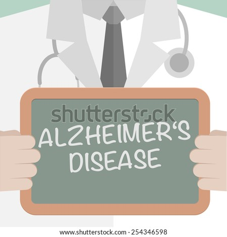 minimalistic illustration of a doctor holding a blackboard with Alzheimers Disease text, eps10 vector - stock vector