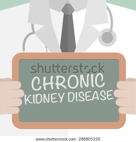 minimalistic illustration of a doctor holding a blackboard with Chronic Kidney Disease text, eps10 vector - stock vector