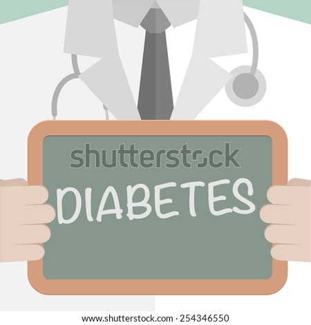 minimalistic illustration of a doctor holding a blackboard with Diabetes text, eps10 vector - stock vector
