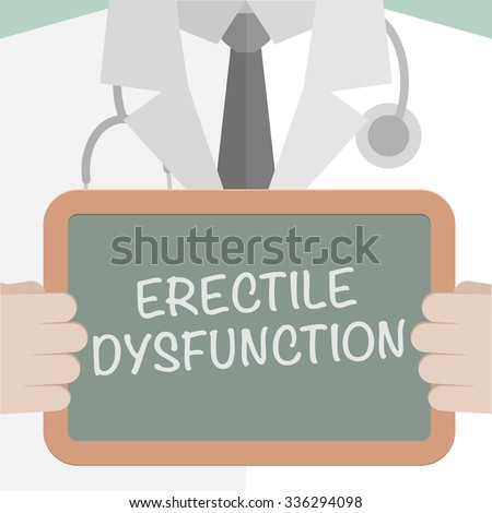 minimalistic illustration of a doctor holding a blackboard with Erectile Dysfunction text, eps10 vector - stock vector