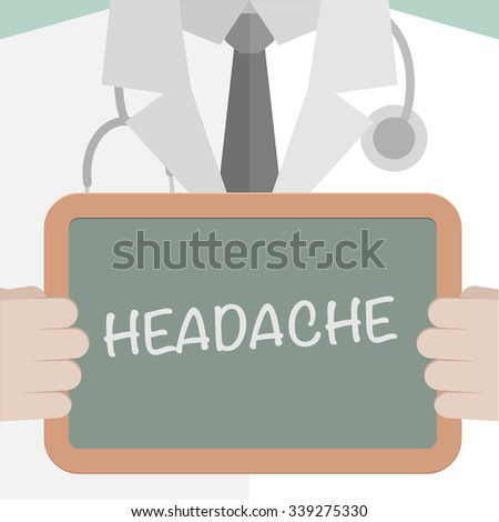 minimalistic illustration of a doctor holding a blackboard with Headache text, eps10 vector - stock vector