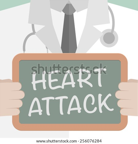 minimalistic illustration of a doctor holding a blackboard with Heart Attack text, eps10 vector - stock vector