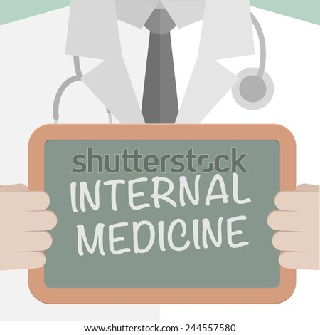 minimalistic illustration of a doctor holding a blackboard with Internal Medicine text, eps10 vector - stock vector