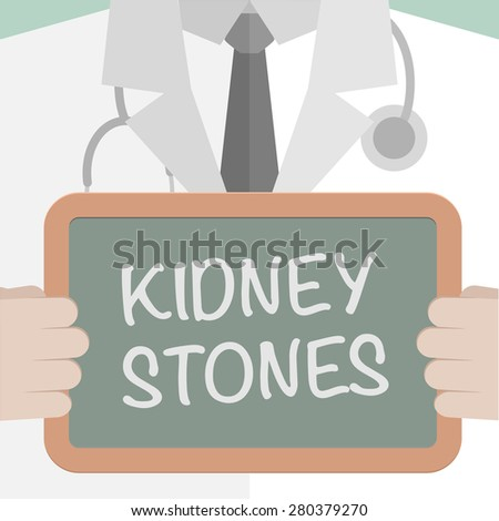 minimalistic illustration of a doctor holding a blackboard with Kidney Stones text, eps10 vector - stock vector