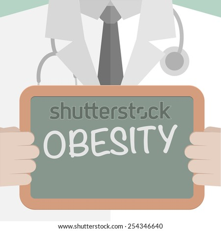 minimalistic illustration of a doctor holding a blackboard with Obesity text, eps10 vector - stock vector