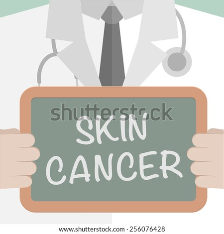 minimalistic illustration of a doctor holding a blackboard with Skin Cancer text, eps10 vector - stock vector