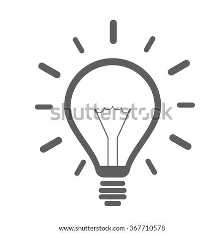 minimalistic illustration of a lightbulb, eps10 vector - stock vector