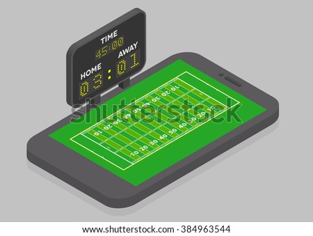 minimalistic illustration of a mobile phone in isometric view with American Football field, online watching concept, eps10 vector - stock vector