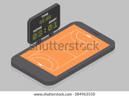 minimalistic illustration of a mobile phone in isometric view with handball field, online watching concept, eps10 vector - stock vector