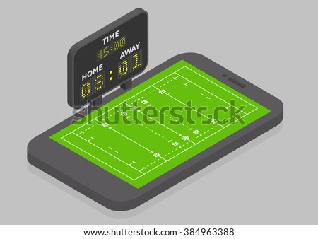 minimalistic illustration of a mobile phone in isometric view with Rugby field, online watching concept, eps10 vector - stock vector