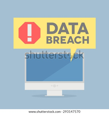 minimalistic illustration of a monitor with a data breach alert speech bubble, eps10 vector - stock vector