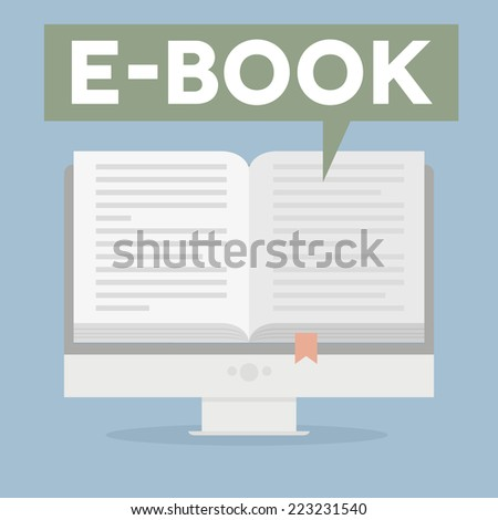 minimalistic illustration of a monitor with an open book and speech bubble saying ebook, eps10 vector - stock vector