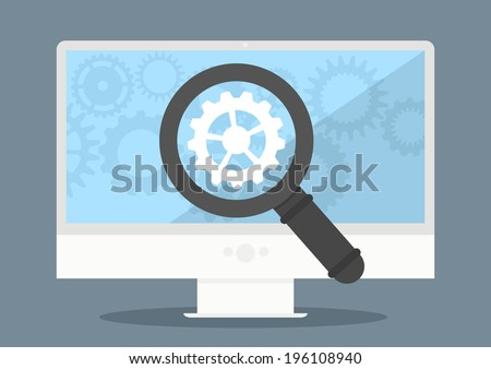 minimalistic illustration of a monitor with cogwheel and magnifiying glass, eps10 vector - stock vector