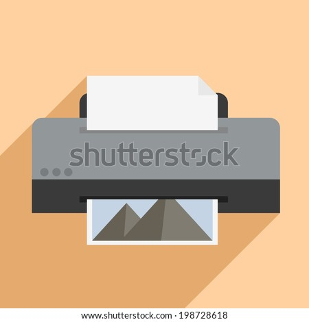 minimalistic illustration of a printer, eps10 vector - stock vector