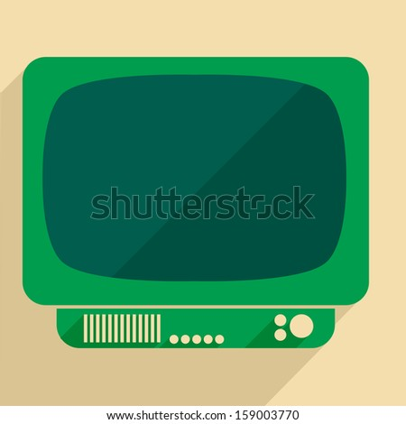 minimalistic illustration of a retro style tv set - stock vector