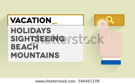 minimalistic illustration of a search bar with vacation keyword and associations, eps10 vector - stock vector