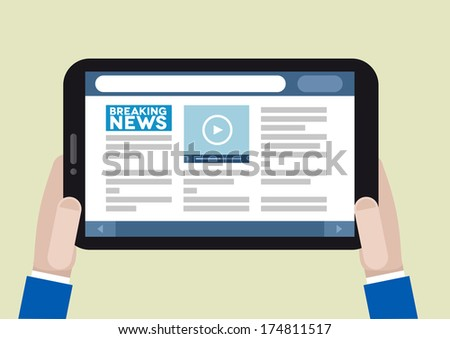 minimalistic illustration of a tablet computer with running news application, eps10 vector