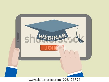 minimalistic illustration of a tablet computer with webinar scholar hat and hand pushing the join button, eps10 vector - stock vector