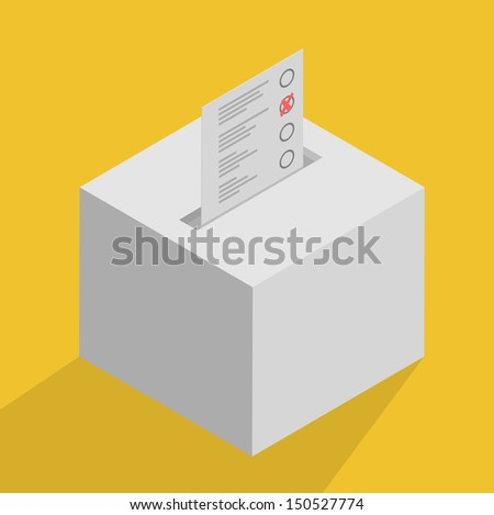 minimalistic illustration of a white ballot box, symbol for voting and politics - stock vector