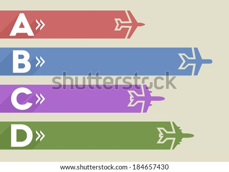 minimalistic illustration of an airplane infographic template, eps10 vector - stock vector